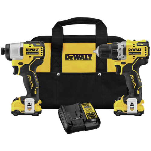 Dewalt DCK221F2 XTREME 12V MAX Cordless Lithium-Ion Brushless 3/8 in. Drill Driver and 1/4 in. Impact Driver Kit (2 Ah) image number 0