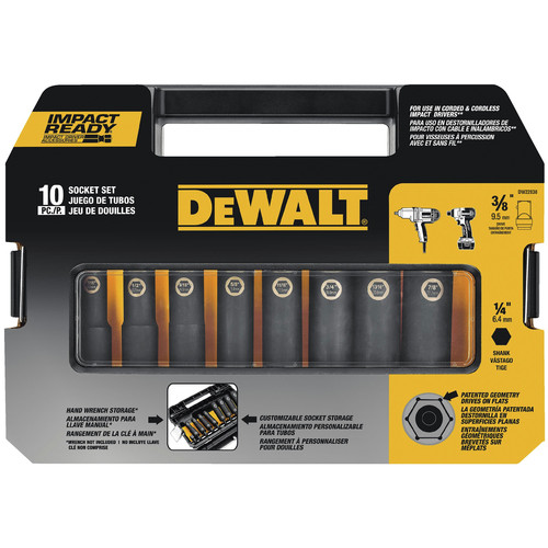 Dewalt DW22838 10 Pc 3/8 in. Drive Impact Ready Socket Set image number 2