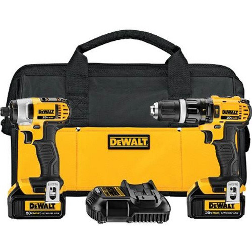 Factory Reconditioned Dewalt DCK285L2R 20V MAX Cordless Lithium-Ion 1/2 in. Compact Hammer Drill and Impact Driver Combo Kit image number 0