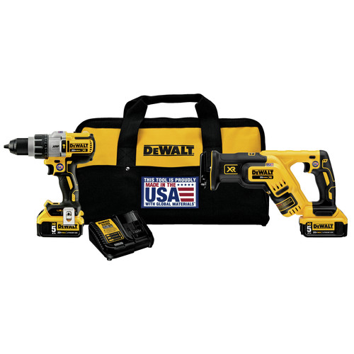 Dewalt DCK294P2 20V MAX XR Lithium-Ion Brushless Hammerdrill and Reciprocating Saw Combo Kit image number 0