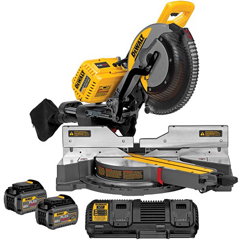 Factory Reconditioned Dewalt Dhs790t2r 120v Max Flexvolt Cordless Lithium Ion 12 In Sliding Compound Miter Saw Kit With Batteries