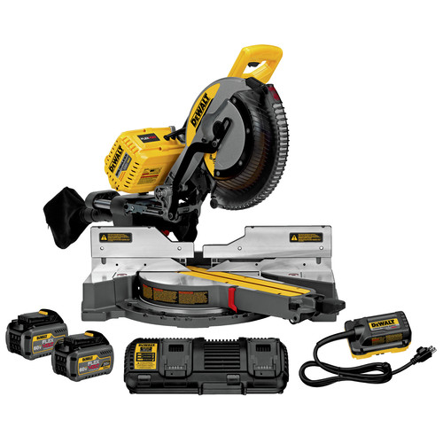 Dewalt DHS790AT2 120V MAX FlexVolt Cordless Lithium-Ion 12 in. Sliding Compound Miter Saw Kit with Batteries and Adapter