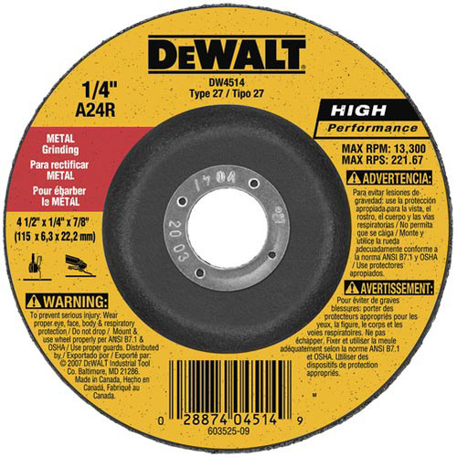 Dewalt DW4514 4-1/2 in. x 1/4 in. A24R High Performance Metal Grinding Abrasive