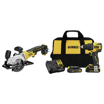 Dewalt DCD708C2-DCS571B-BNDL ATOMIC 20V MAX 1/2 in. Cordless Drill Driver Kit and 4-1/2 in. Circular Saw