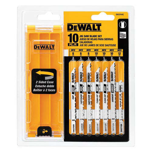 Dewalt DW3744C 10-Piece U-shank Jigsaw Blade Set with Case