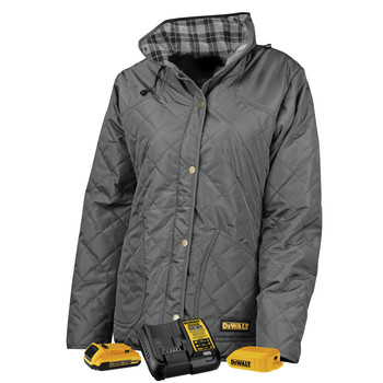 Dewalt DCHJ084CD1-3X 20V MAX Li-Ion Charcoal Women's Flannel Lined Diamond Quilted Heated Jacket Kit - 3XL