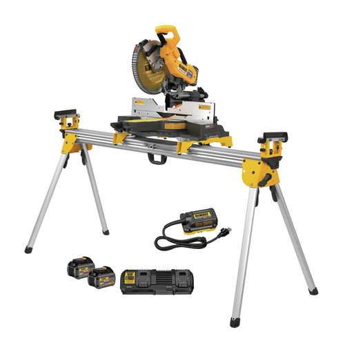 Dewalt DHS790AT2DWX723 120V MAX FlexVolt 12 in. Dual Bevel Sliding Compound Miter Saw Kit with Heavy-Duty Miter Saw Stand image number 0