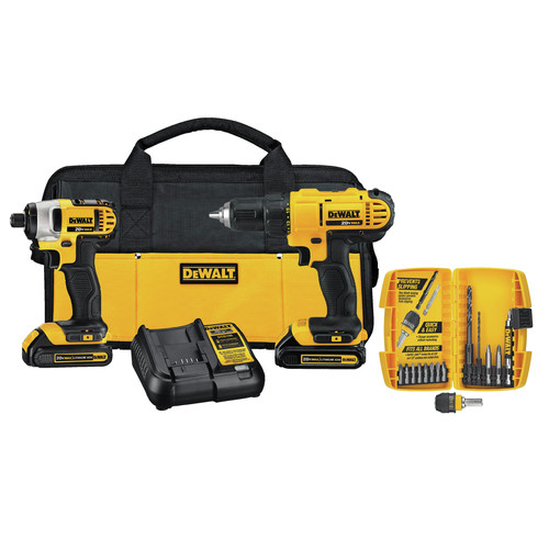 Factory Reconditioned Dewalt DCK241C2R 20V MAX Li-Ion Compact 2-Tool and Accessory Kit image number 0
