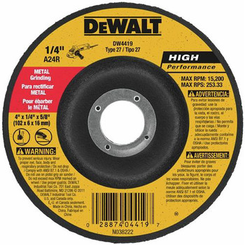 Dewalt DW4514B5 4-1/2 in. x 1/4 in. A24R High Performance Metal Grinding Abrasives (5-Pack)