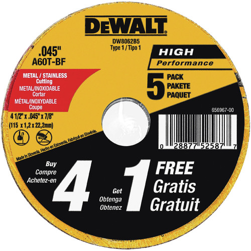 Dewalt DW8062B5 4-1/2 in. x 0.045 in. Metal and Stainless Steel Cutting Wheels (5-Pack) image number 0