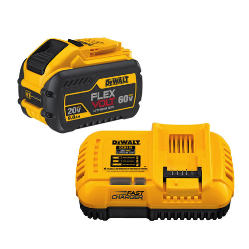 Dewalt DCB118X1 20V/60V MAX 4/8 Amp Fan-Cooled Fast Charger with FlexVolt 9.0 Ah Battery