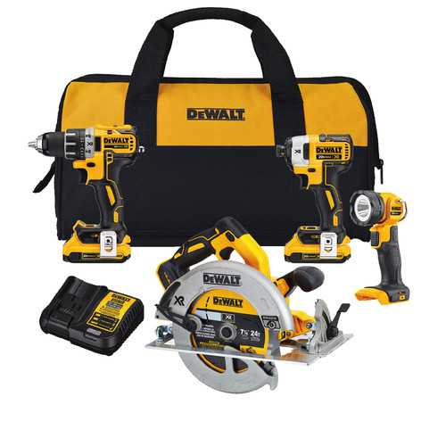 Factory Reconditioned Dewalt DCK483D2R 20V MAX XR Compact 4-Tool Combo Kit image number 0