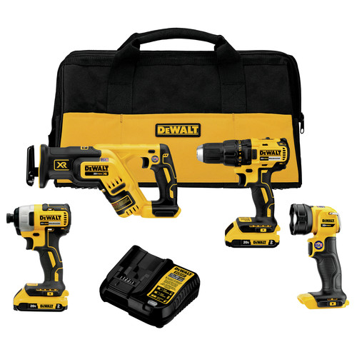 Dewalt DCK476D2 20V MAX Brushless Lithium-Ion Cordless 4-Tool Combo Kit (2 Ah) image number 0