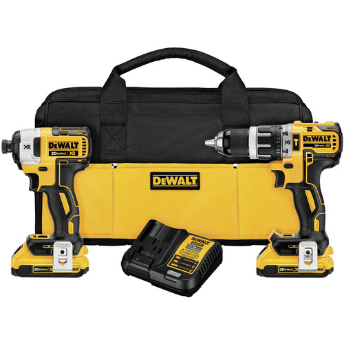 Factory Reconditioned Dewalt DCK287D2R 20V MAX XR 2.0 Ah Cordless Lithium-Ion Brushless Hammer Drill & Impact Driver Combo Kit image number 0