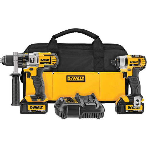 Factory Reconditioned Dewalt DCK290L2R 20V MAX 3.0Ah Cordless Lithium-Ion 1/2 in. Hammer Drill and Impact Driver Combo Kit image number 0