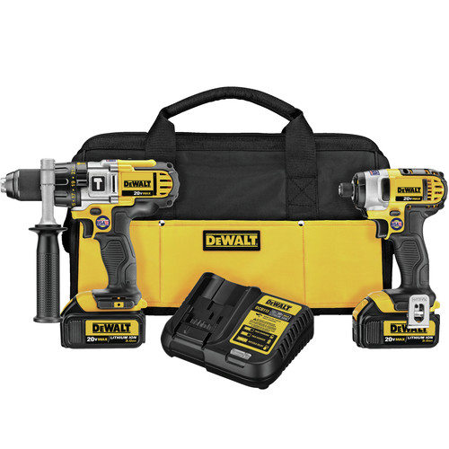 Dewalt DCK290L2 20V MAX Cordless Lithium-Ion 1/2 in. Hammer Drill and Impact Driver Combo Kit image number 0