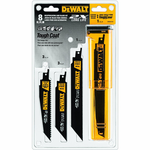 Dewalt DWA4101 8-Piece 2X Reciprocating Saw Blade Set with Tough Case
