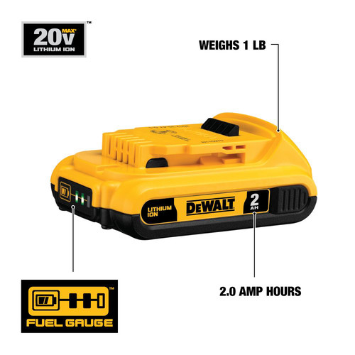 Dewalt DCB203 20V MAX XR 2 Ah Lithium-Ion Compact Battery image number 1