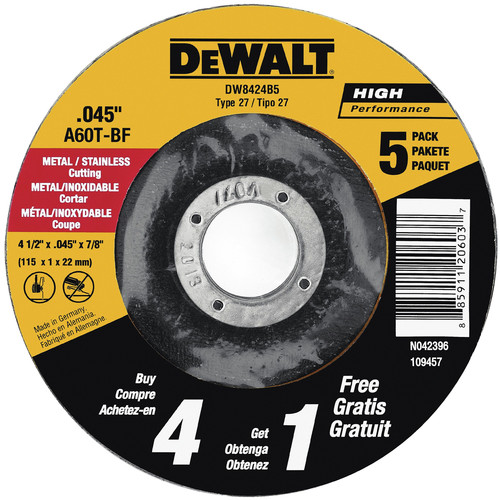 Dewalt DW8424B5 4-1/2 in. x 0.045 in. Metal Cutting Wheels (5-Pack)