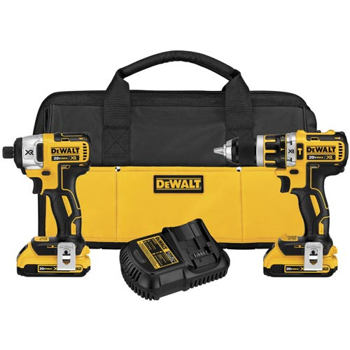 Factory Reconditioned Dewalt DCK286D2R 20V MAX XR Lithium-Ion Brushless Compact Hammer Drill & Impact Driver Combo Kit