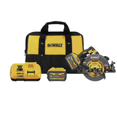Dewalt DCS578X2 FLEXVOLT 60V MAX Brushless Lithium-Ion 7-1/4 in. Cordless Circular Saw Kit with Brake and (2) 9 Ah Batteries image number 0