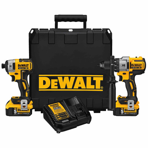 Factory Reconditioned Dewalt DCK299P2R 20V MAX XR Lithium-Ion 1/2 in. Hammer Drill & 1/4 in. Impact Driver Combo Kit image number 0