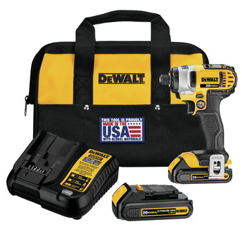Factory Reconditioned Dewalt DCF885C2R 20V MAX Cordless Lithium-Ion 1/4 in. Impact Driver Kit image number 0