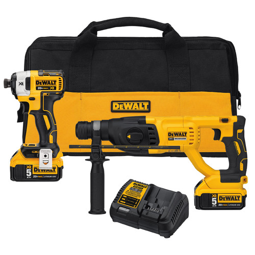 Dewalt DCK233P2 20V MAX Cordless Lithium-Ion Rotary Hammer & Impact Driver Combo Kit