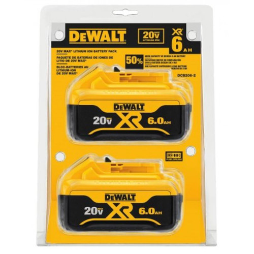 Dewalt DCB206-2 20V MAX Premium XR 6.0 Ah Lithium Ion Batteries (2-Pack)