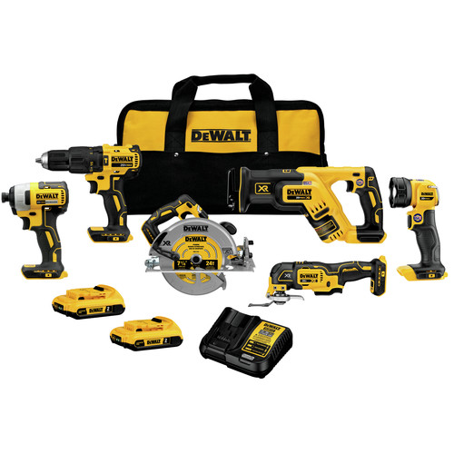 Dewalt DCK677D2 20V MAX Brushless Lithium-Ion Cordless 6-Tool Kit (2 Ah) image number 0