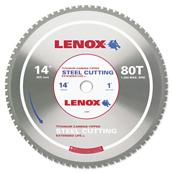 Lenox 21891ST140080CT 80TCircular Saw Blade, Steel-Cutting, 14 in., 1 in. Arbor, 1800 RPM