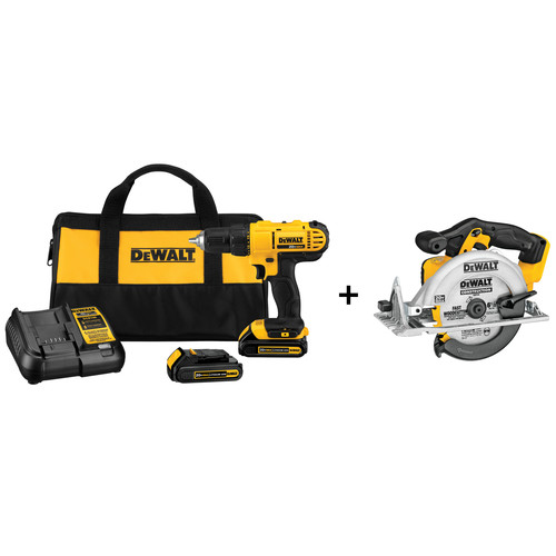 Dewalt DCD771C2 & DCS391B 20V MAX Cordless Lithium-Ion 1/2 in. Compact Drill Driver Kit with 20V MAX Cordless Lithium-Ion 6-1/2 in. Circular Saw image number 0
