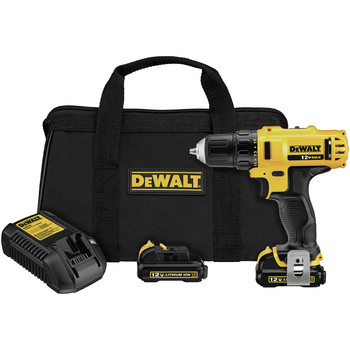 Dewalt DCD710S2 12V MAX Lithium-Ion 3/8 in. Cordless Drill Driver Kit with Keyless Chuck (1.5 Ah)
