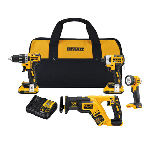 Factory Reconditioned Dewalt DCK484D2R 20V MAX XR Brushless Lithium-Ion Cordless 4-Tool Compact Combo Kit image number 0