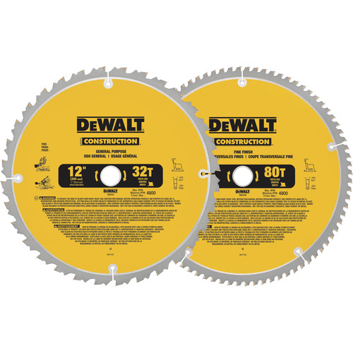 Dewalt DW3128P5 12 in. Series 20 Circular Saw 2-Blade Combo Pack image number 0