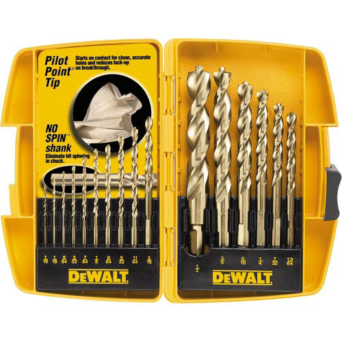 Dewalt 115-DW1956 16-Piece Pilot Point and Drill Bit Set