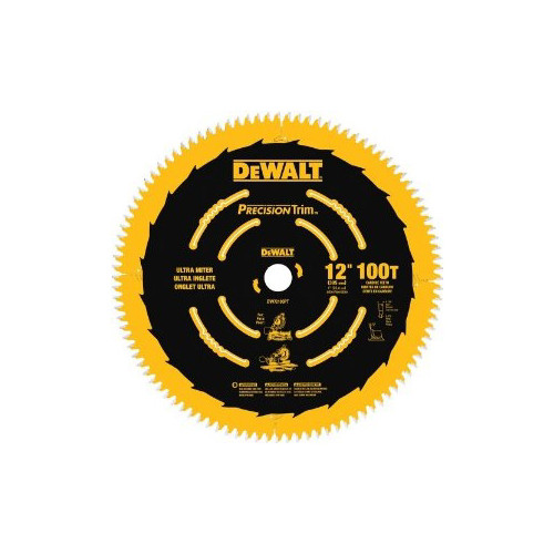 Dewalt DW72100PT 12 in. 100 Tooth Precision Trim Ultra-Smooth Crosscutting Saw Blade image number 0