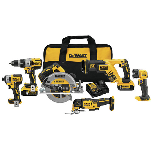 Factory Reconditioned Dewalt DCK694P2R 20V MAX XR 5.0 Ah Cordless Lithium-Ion 6-Tool Combo Kit image number 0