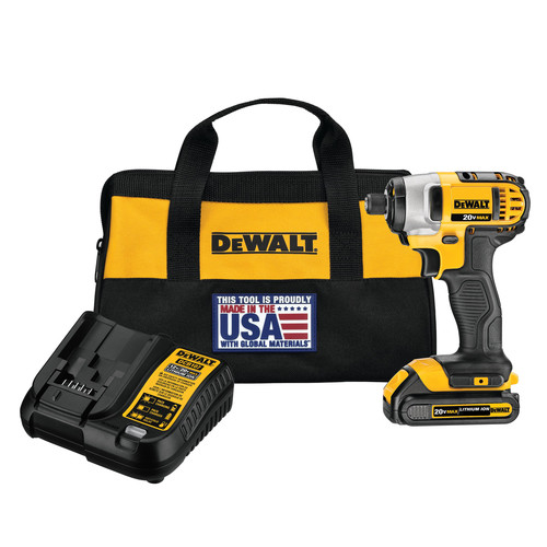 Dewalt DCF885C1 20V MAX Compact Lithium-Ion 1/4 in. Cordless Impact Driver Kit (1.5 Ah) image number 0