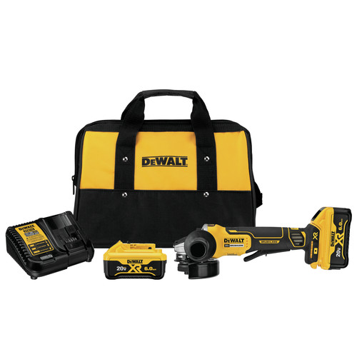Dewalt DCG413R2 20V MAX XR Brushless 4.5 in. Paddle Switch Small Angle Grinder Kit with Kickback Brake