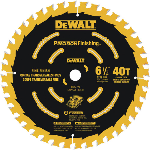 Dewalt DW9196 6-1/2 in. 40 Tooth Precision Framing Saw Blade image number 0
