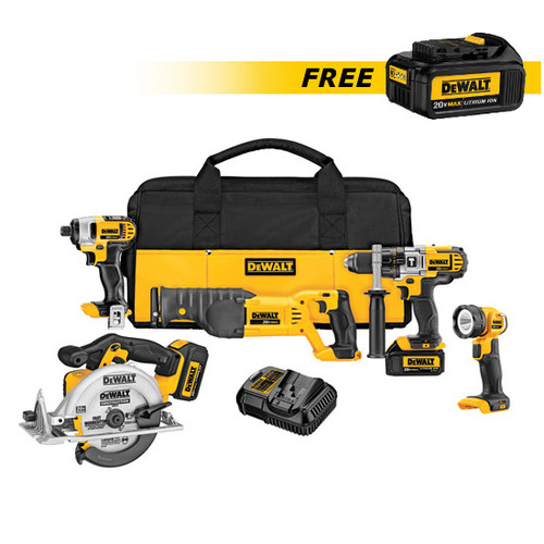 Dewalt DCK592L2-DCB200-BNDL 20V MAX Lithium-Ion Premium 5-Tool Combo Kit with FREE 20V MAX 3.0 Ah Lithium-Ion Battery Pack image number 0