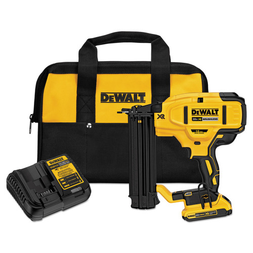 Dewalt DCN680D1 20V MAX Cordless Lithium-Ion XR 18 GA Cordless Brad Nailer Kit image number 0
