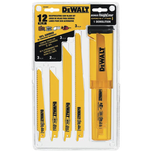 Dewalt DW4892 12-Piece Reciprocating Saw Blade Set with Telescoping Case image number 0