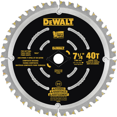Dewalt DWA31740 7 1/4 in. 40T Composite Decking Blade