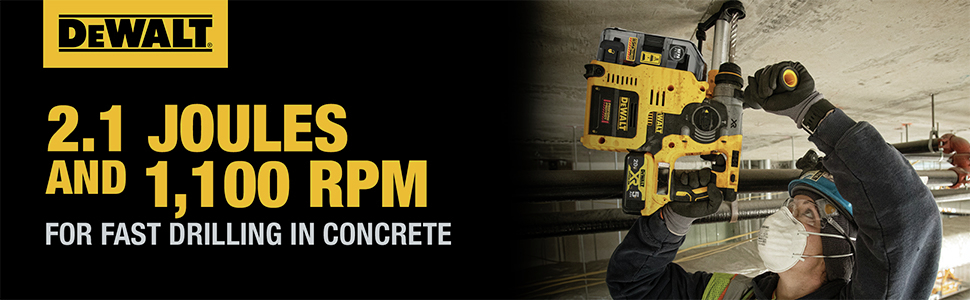 2.1 Joules And 1100 RPM For Fast Drilling In Concrete