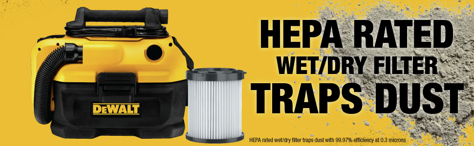 HEPA Rated Wet/Dry Filter Traps Dust