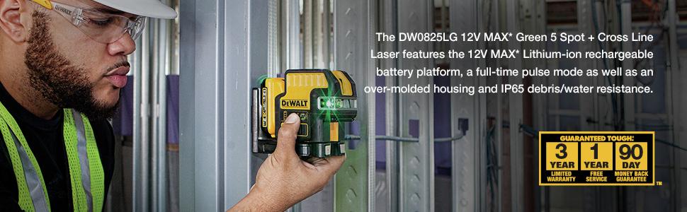 The DW0825LG 12V MAX Green 5 Spot + Cross Line Laser
