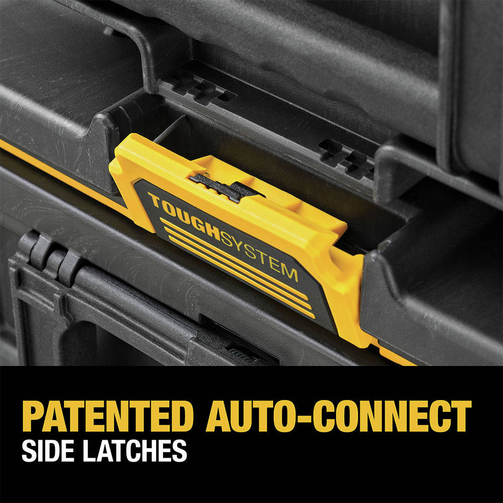 Patented auto-connect side latches provide convenient one-handed operation