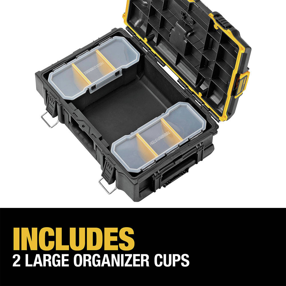 Includes two large organizer cups with removable dividers for optimal organization